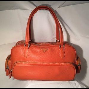 PRADA Orange Leather Shoulder Bag Purse